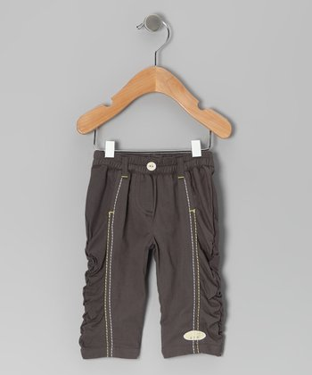 Dark Gray Butter Cup Twill Pants - Infant
