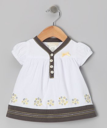 White & Black Butter Cup Top - Infant