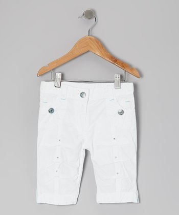 White Magic Mist Clam Digger Shorts - Toddler & Girls