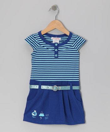 Blue Stripe Magic Mist Belted Dress - Girls
