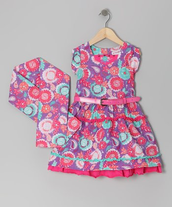 Magenta Bohemian Groove Dress & Scarf - Toddler & Girls