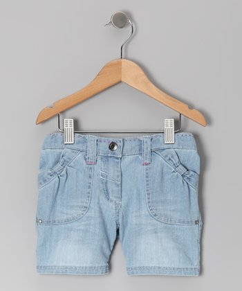 Light Blue Denim Bohemian Groove Bermuda Shorts - Toddler & Girls