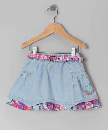 Light Blue Denim Bohemian Groove Skirt - Toddler & Girls