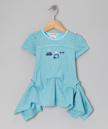 Blue Polka Dot Magic Mist Pick-Up Tunic - Toddler & Girls
