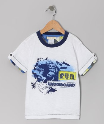 White Catch the Wake Ringer Tee - Toddler & Boys