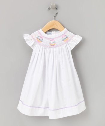 Hug Me First - White Easter Smocked Bishop Dress 12mo