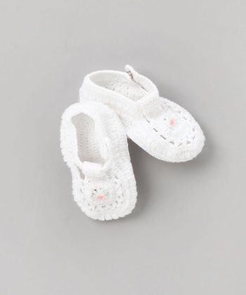 White Crochet T-Strap Shoe