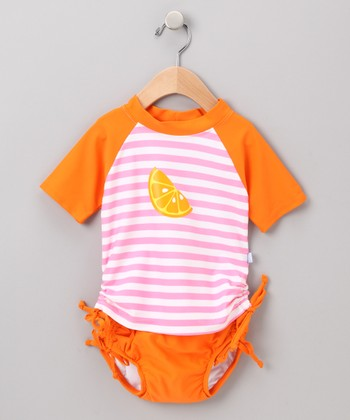 i play Girls - Light Pink Oranges Rashguard Set M