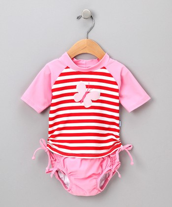 Red Butterfly Rashguard Set - Infant & Toddler