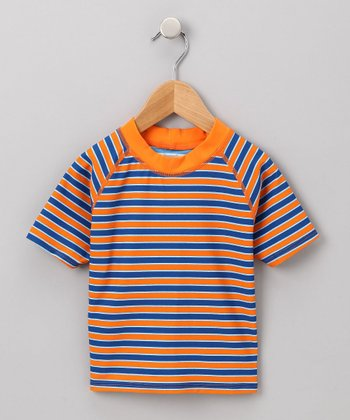 Orange & Navy Stripe Rashguard - Infant