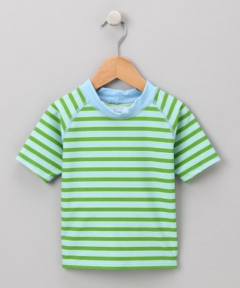 Light Blue & Olive Stripe Rashguard - Infant