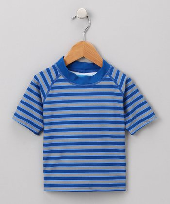 Navy & Gray Stripe Rashguard - Infant