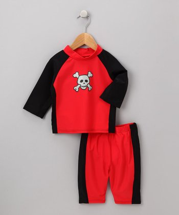Red Skull Rashguard Set - Infant & Toddler