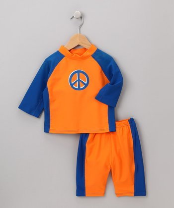 i play Boys - Orange Peace Sign Rashguard Set S