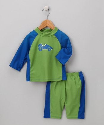 Olive Racecar Rashguard Set - Infant & Toddler