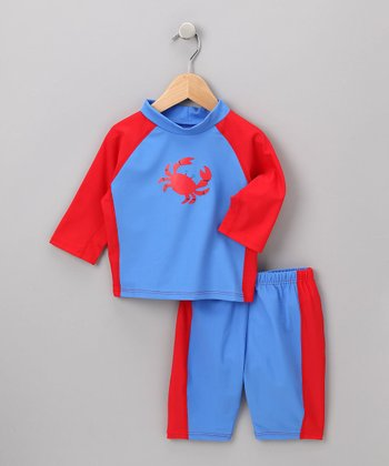 i play Boys - Blue Crab Rashguard Set M
