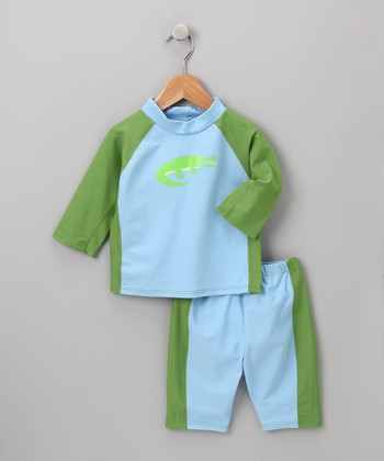 i play Boys - Light Blue Gator Rashguard Set 3T