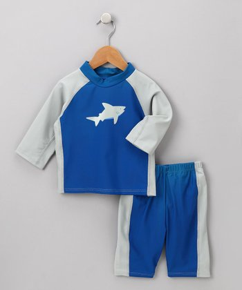 i play Boys - Navy Shark Rashguard Set 3T