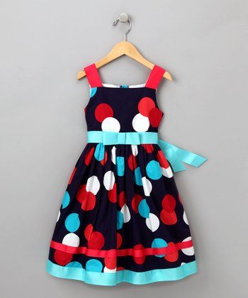 Dollie & Me Navy Polka Dot Dress - Toddler & Girls