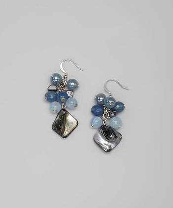 Blue Shell Cluster Earrings