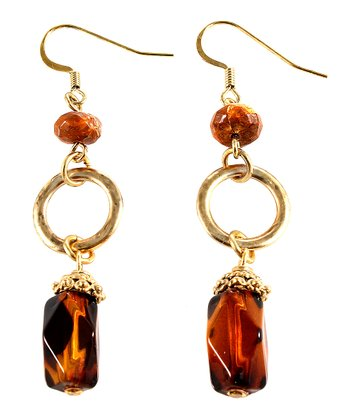 Tortoise & Gold Drop Earrings