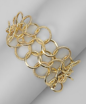 Gold Linked Ring Bracelet