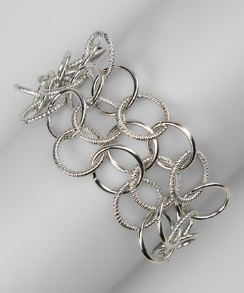 Silver Linked Ring Bracelet