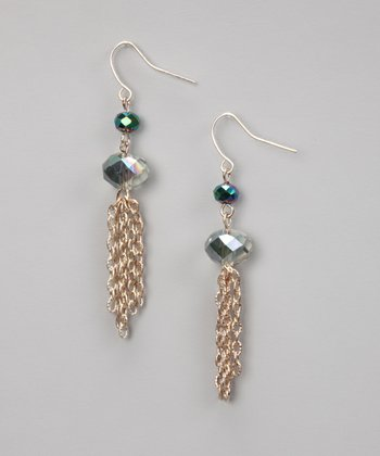 Emerald & Gold Tassel Earrings