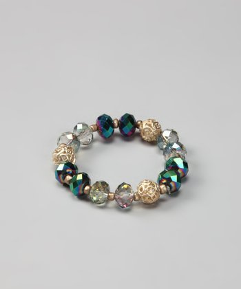 Emerald & Gold Beaded Stretch Bracelet