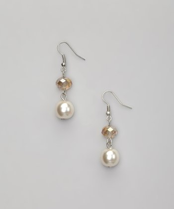 Faux Pearl & Champagne Crystal Drop Earrings