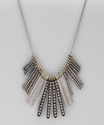 Black Crystal Graduated Linear Bar Necklace