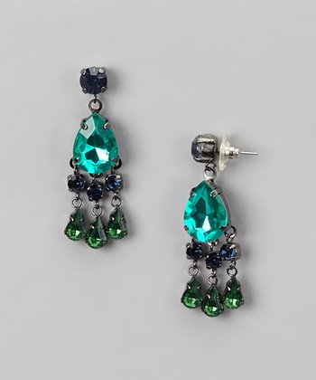 Blue & Green Suspended Teardrop Earrings