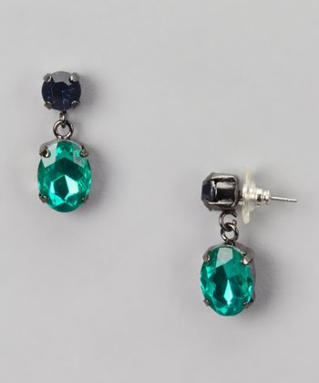 Blue & Green Double Drop Earrings