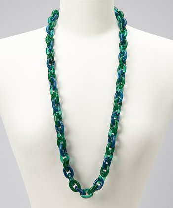 Blue & Green Marbled Long Link Necklace