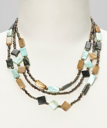 Blue & Sand Glass Beaded Necklace