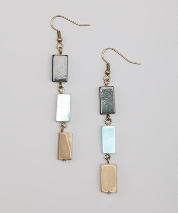 Blue & Sand Glass Triple-Drop Earrings