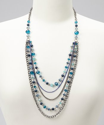 Blue & Silver Multi-Strand Chain Necklace