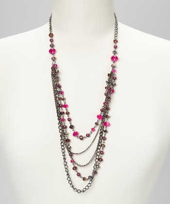 Purple & Fuchsia Hematite Multistrand Chain Necklace