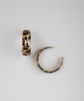 Brown Leopard Lucite Hoop Earrings
