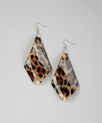 Brown Leopard Lucite Fan Drop Earrings