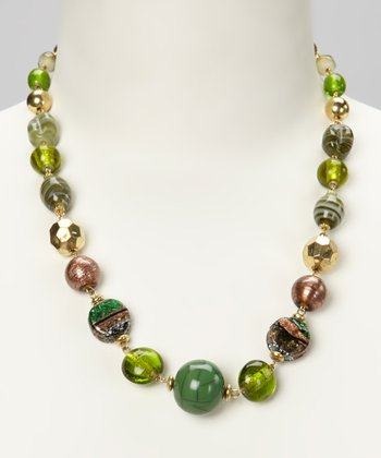 Green & Gold Glass Beaded Necklace