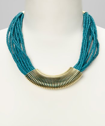 Turquoise & Gold Beaded Necklace