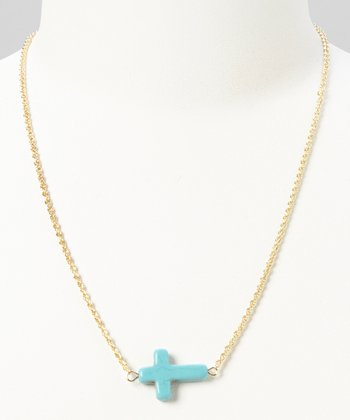 Turquoise & Gold Cross Necklace