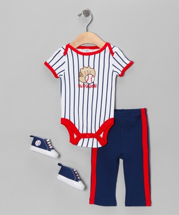 Blue Baseball Bodysuit Set
