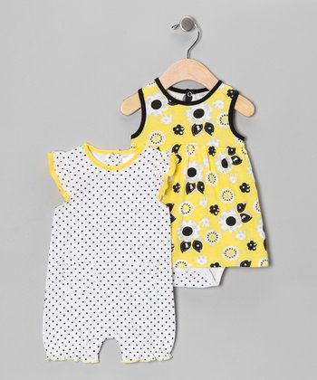 Yellow Sunflower Skirted Bodysuit & Romper - Infant