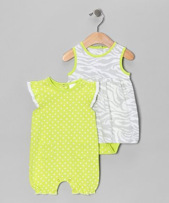Lime & Gray Zebra Skirted Bodysuit & Romper - Infant