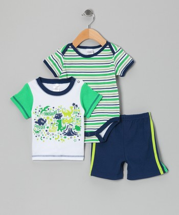 Green Stripe Dinosaur Bodysuit Set - Infant