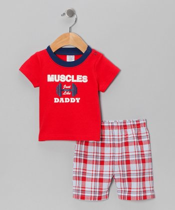 Red 'Muscles Just Like Daddy' Tee & Shorts - Infant