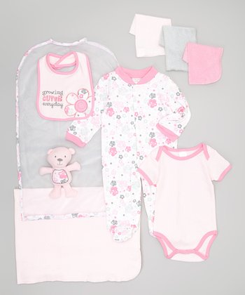 Pink 'Growing Cuter Everyday' 9-Piece Layette Set