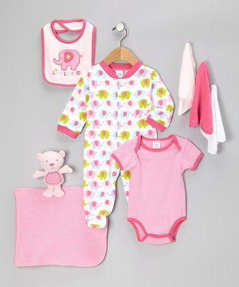 Pink Little Girl Nine-Piece Layette Set